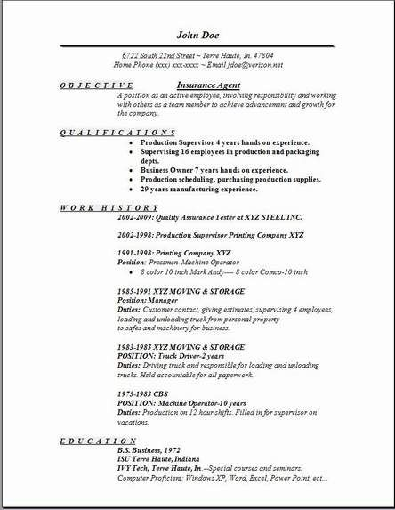 Insurance Resume Template  Insurance Sales Resume
