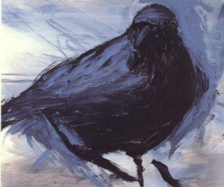 Angry Bird . oil on board . 45cm x 54cm by Alice Leach