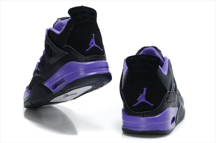 Authentic (Black Purple Jordans 4) For