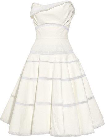 V B Paint-effect Cotton-organdy Dress