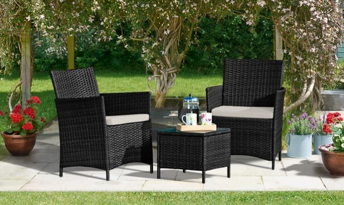 3pc Rattan Furniture Patio Set Wicker Chairs And Table Home Garden