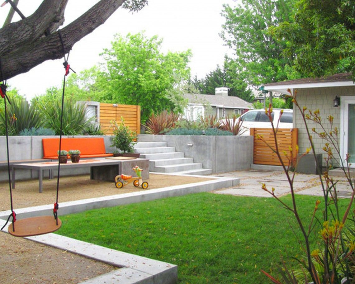 Backyard features interesting webgaintskids backyard for Back patio design ideas