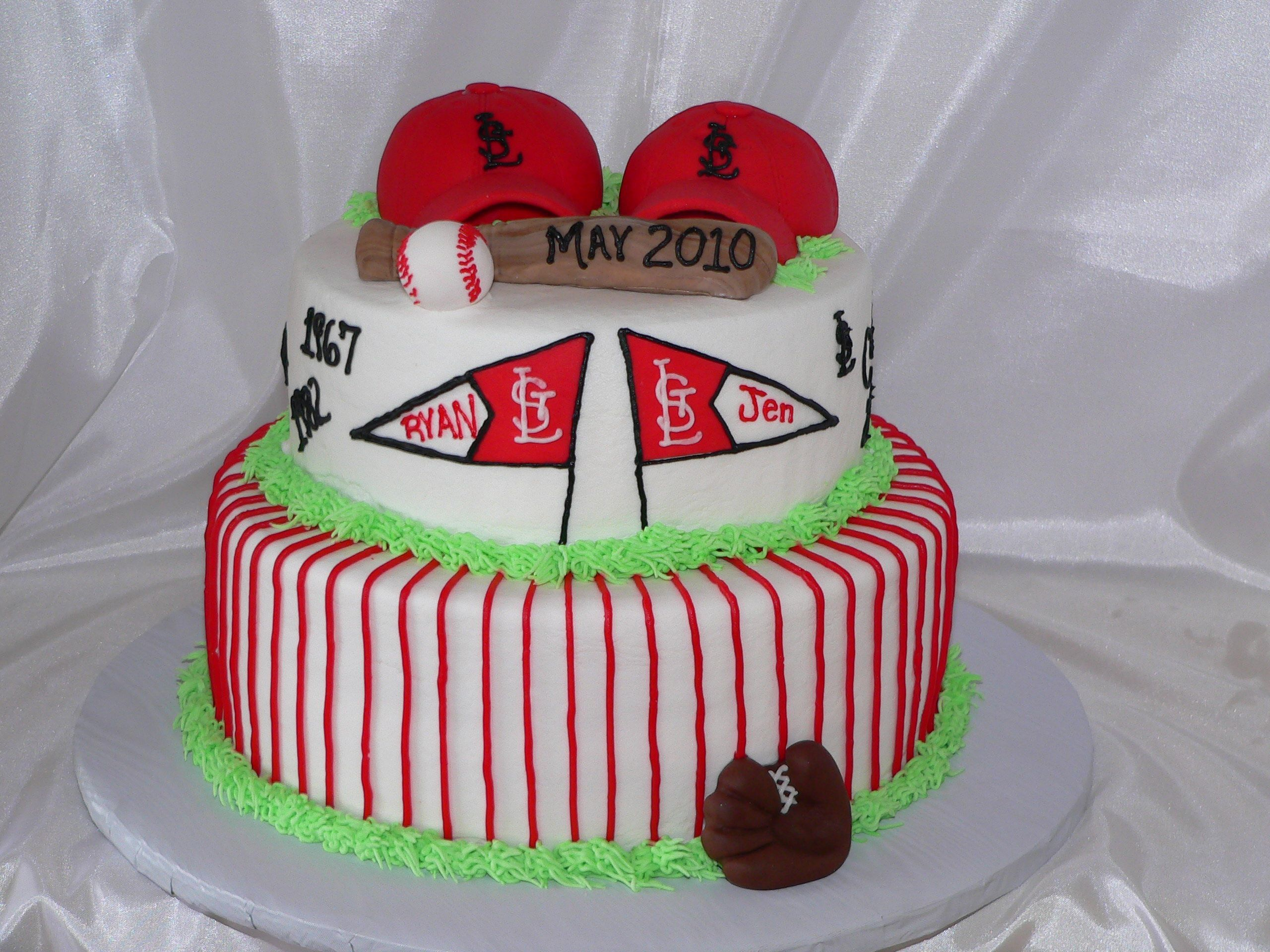 baseball engagement - Engagement party with a STL Cardinal theme.  All BC but the hats and bat are fondant covered RKT.  Baseball is fondant and the top half of pennant.