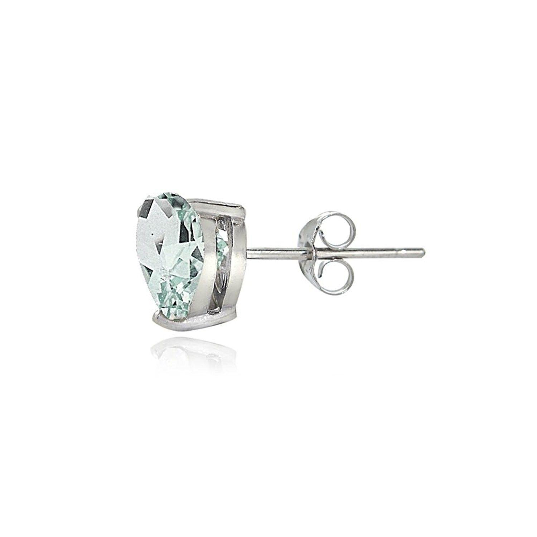 a7567a974 Earrings, Stud, Sterling Silver Genuine- Created or Simulated Birthstone  Gemstone 6mm Heart Stud Earrings - March-Aquamarine - CC17AYYA54W #Earrings  ...