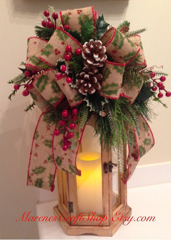 Burlap lantern swag tree topper with by for Decorating with burlap ribbon for christmas