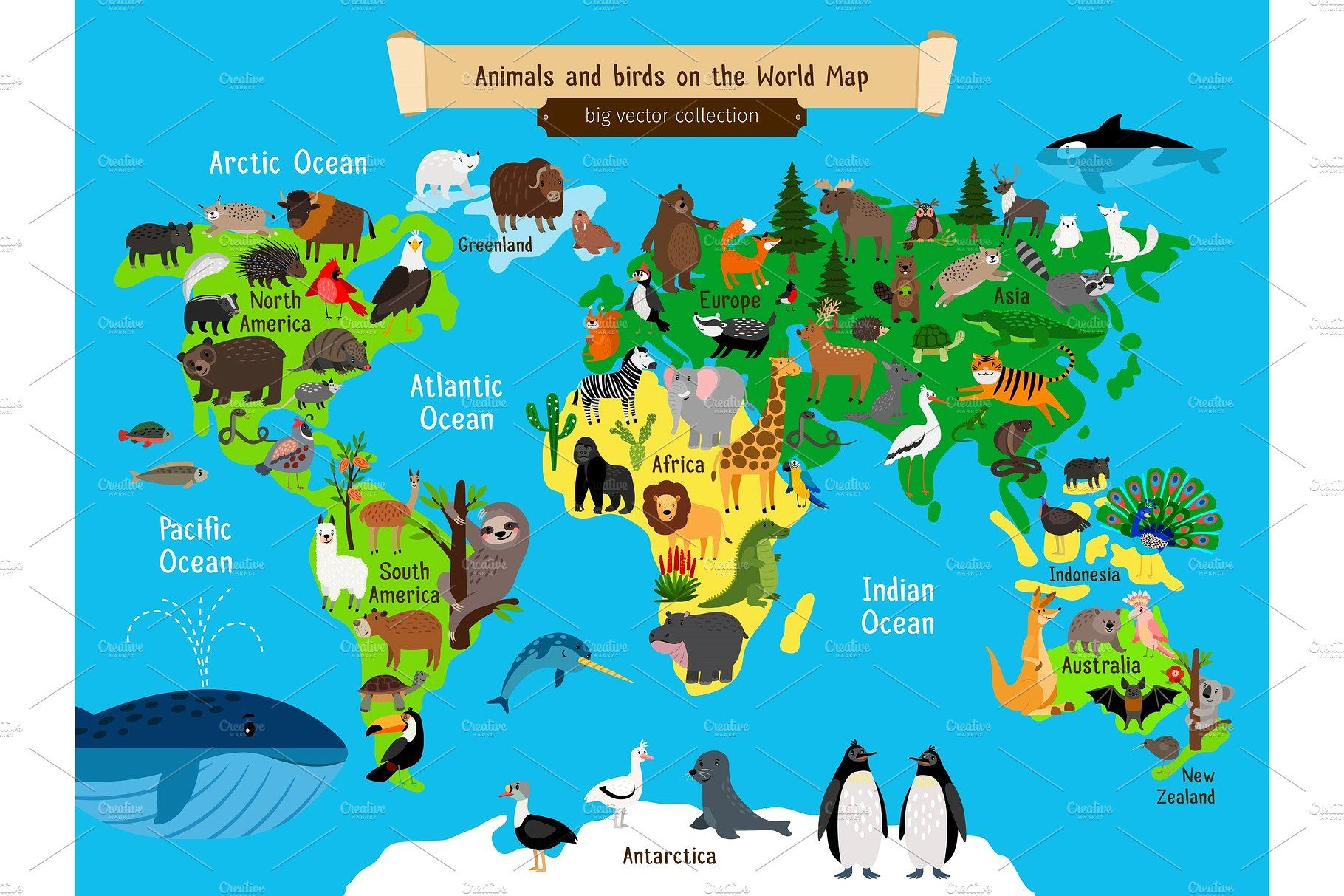 World Map Animals. Europe and Asia, South and North