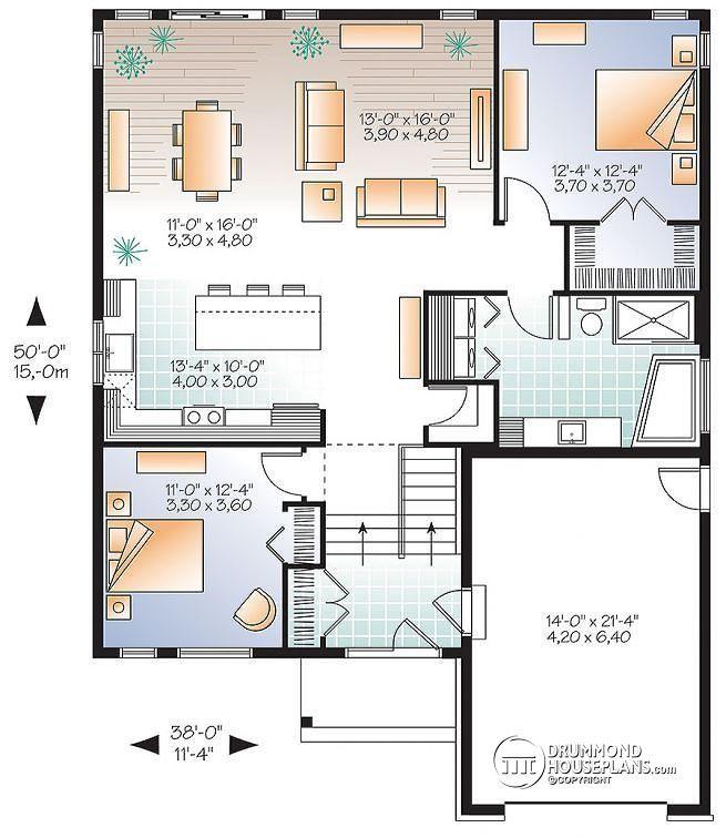 1339 Sq Ft Plan W3288 V1 1st Level Scandinavian Inspired House Open Floor 2 Bedrooms Unfinished Bat One Car Garage Urban Valley