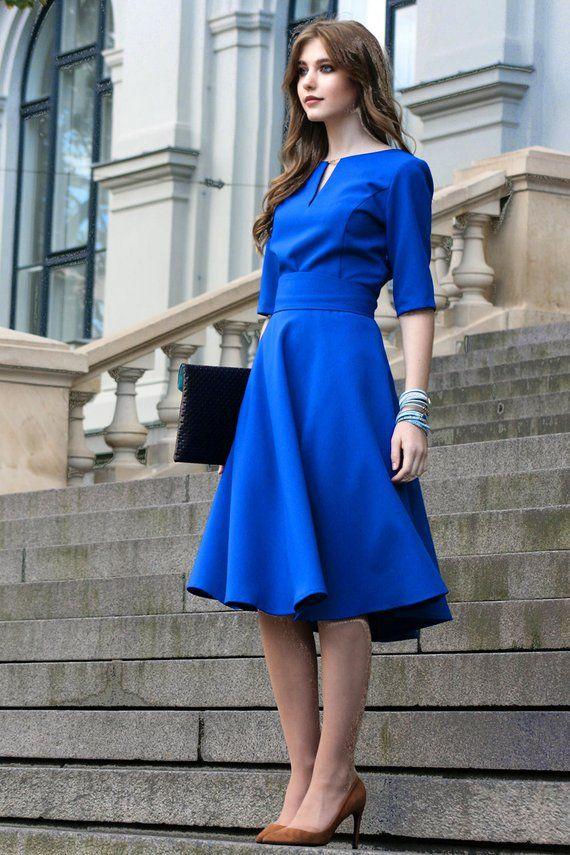 Women Dress, Blue Dress, Circle Dress, Knee Length Dress, Women