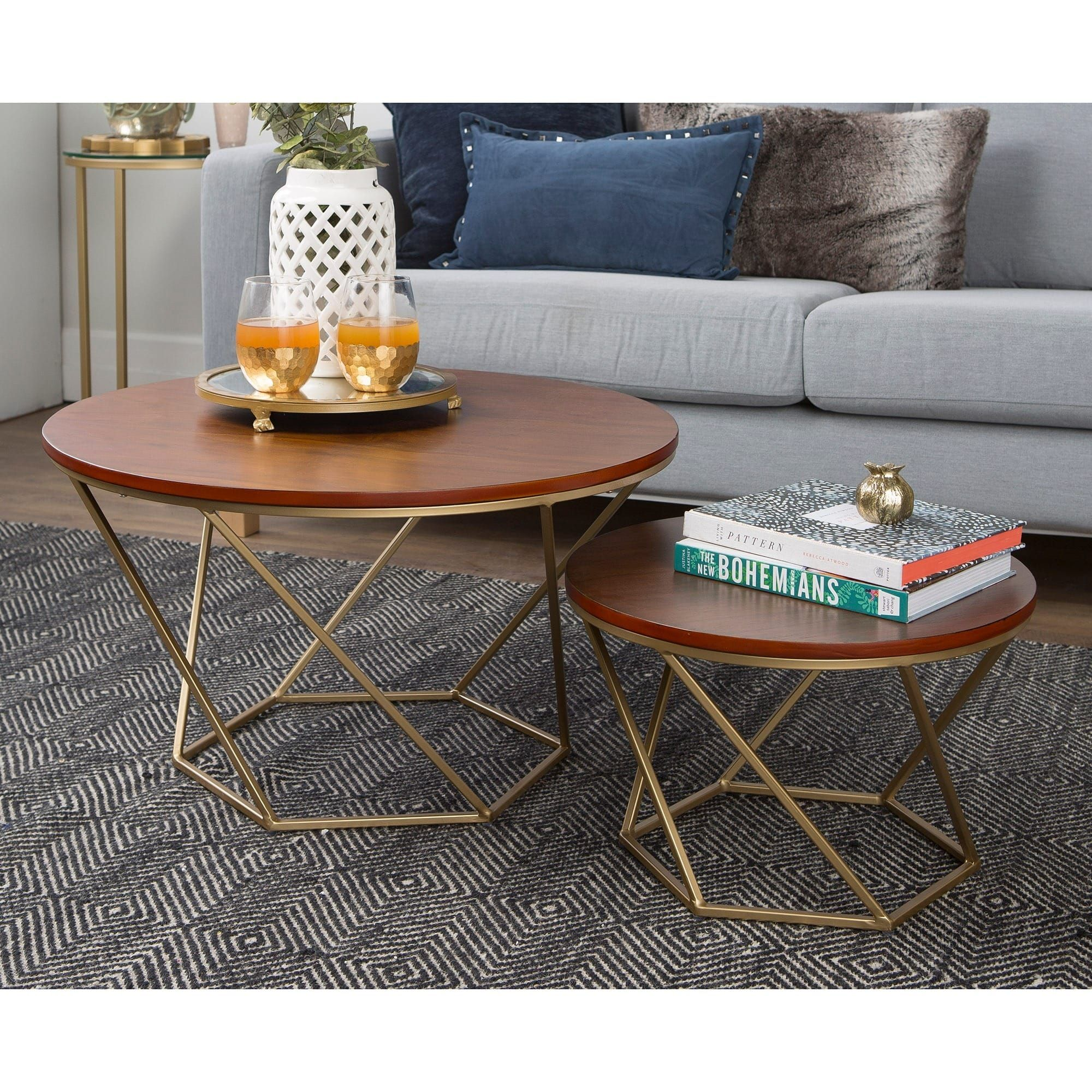 Silver Orchid Grant Round Nesting Table Set Gold Walnut