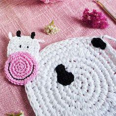 Crochet Cow Coaster Pattern by MonikaCrochet