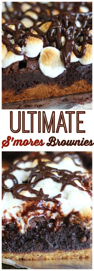 The fudgiest homemade brownie I've ever made tops a thick, buttery graham cracker crust, and a layer of melted marshmallows! These Ultimate Fudgy S'mores Brownies are your new favorite for summer.