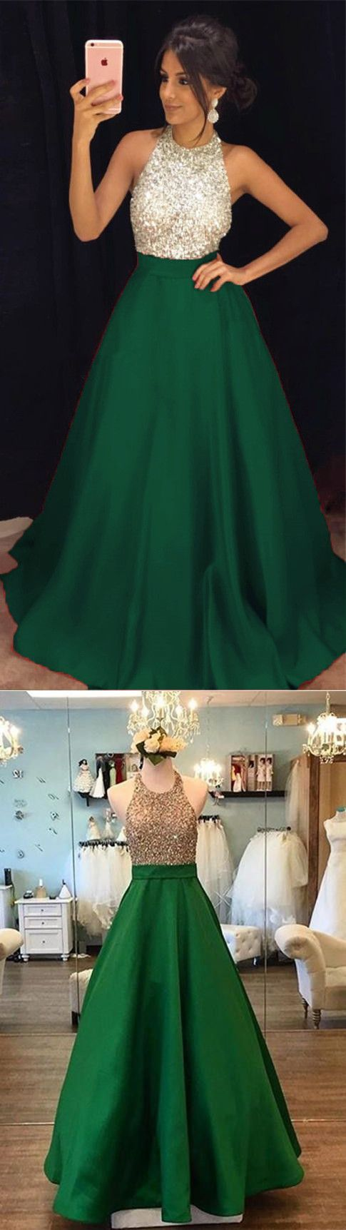 Green A-line Prom Dresses Long, Prom Dress, Evening Dresses, Formal ...