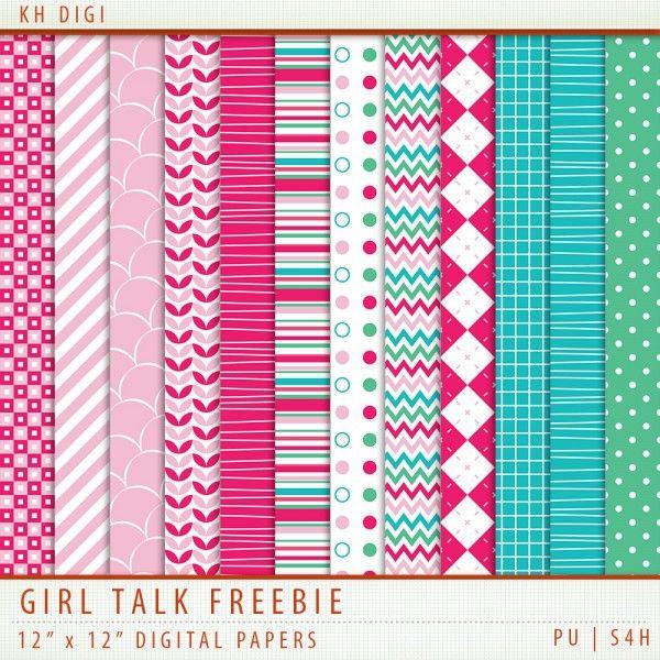 Girl Talk - Digital Paper Freebie for March 2014.