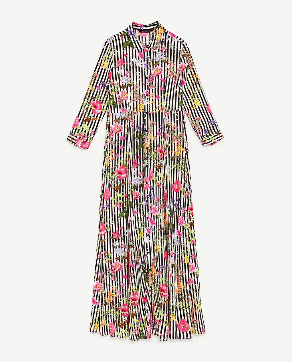 image 8 de robe longue imprimÉe À rayures et fleurs de zara