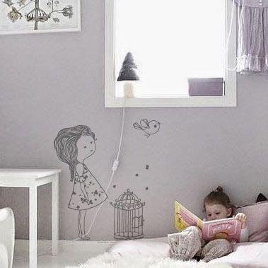 sticker petite fille et loiseau chambre - Chambre De Petites Filles