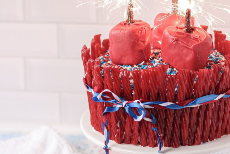 twizzler sparkler cake recipe with images twizzlers cake recipes cake toppings pinterest