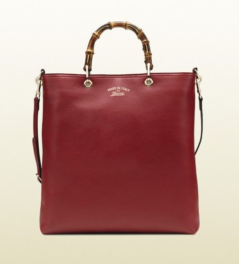 for her Gucci borsa shopping bamboo in pelle rosso scuro rosso fc9dd3c9e685