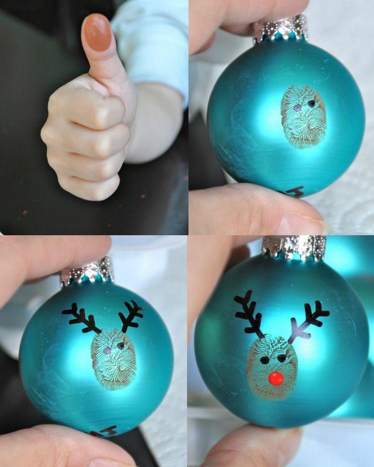 bastelideen-weihnachten-kinder-christbaumschmuck-weihnachtskugel-hirsch-fingerabdruck #bastelideenweihnachten