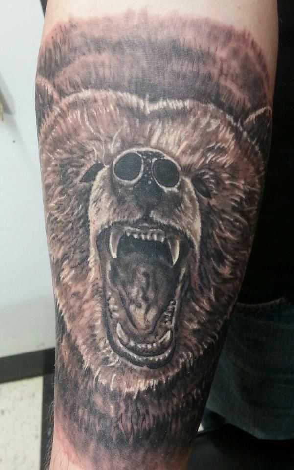 grizzly bear tattoo black and grey will spencer