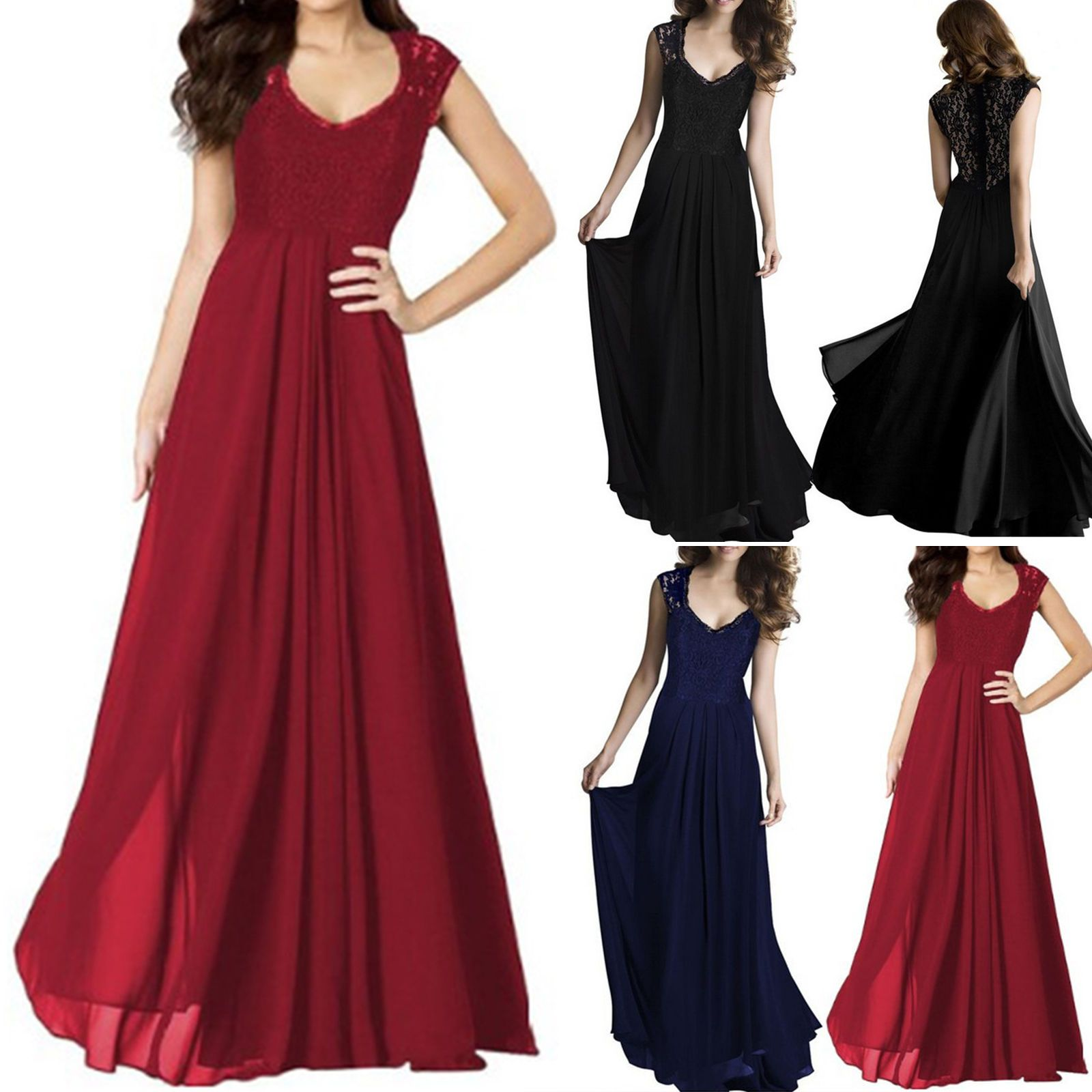 Awesome women chiffon formal party prom lace evening gown ballgown