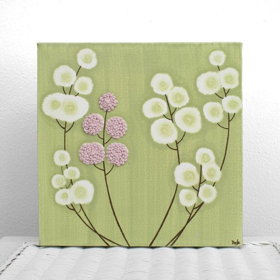 Pink and Green Nursery Art - Original Textured Painting on Canvas ...