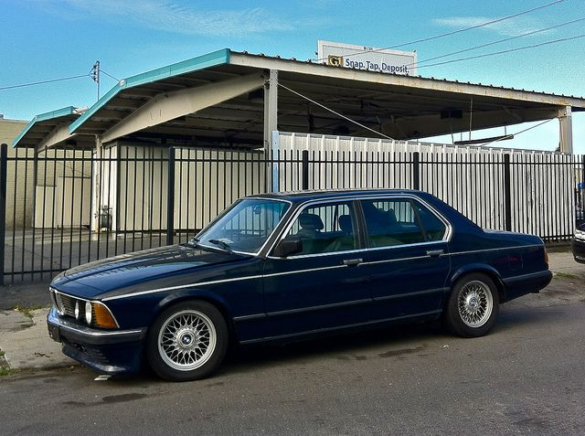 E23 Bmw 7 Series In Lapis Blue With 16 Inch E38 Wheels And Lowered