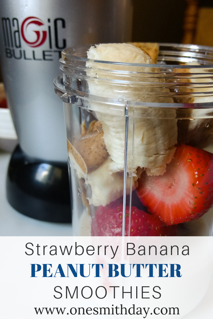 Strawberry banana peanut butter smoothies for everyone!