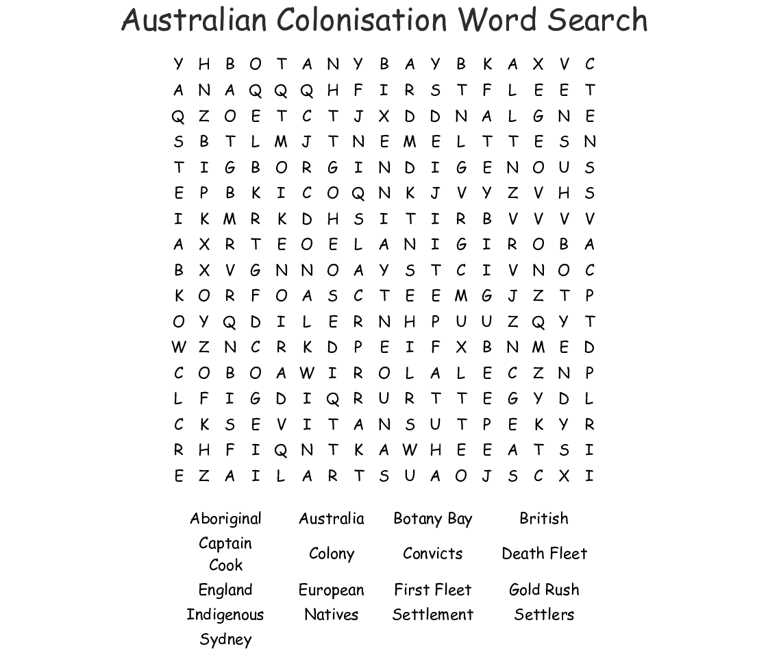 Free Worksheet About Colonisation