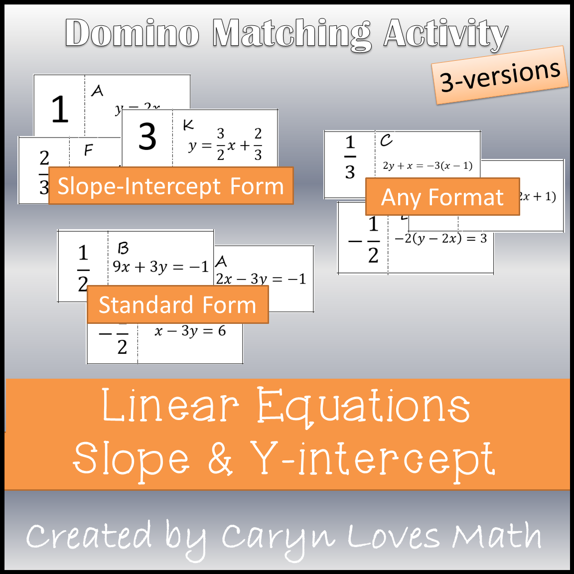 Slope Amp Y Intercept Of A Linear Equation Matching Activity
