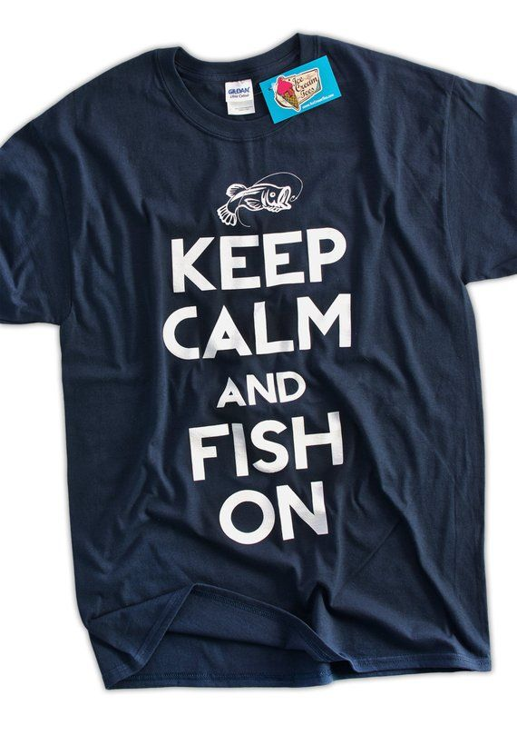 600eb656 Funny Fishing T-Shirt Keep Calm and Fish On T-Shirt Gifts for Dad Screen  Printed T-Shirt Tee Shirt T