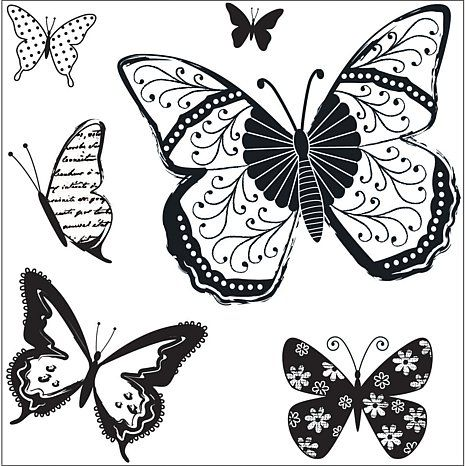 Hampton Art Kelly Panacci Cling Stamps - Butterflies at HSN.com
