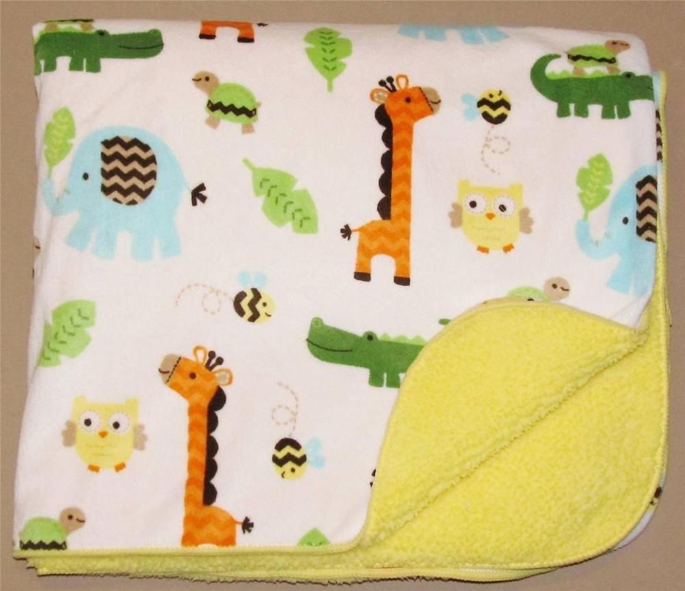 CIRCO Jungle Baby Blanket Yellow Sherpa TARGET Unisex Safari Animals Giraffe Owl