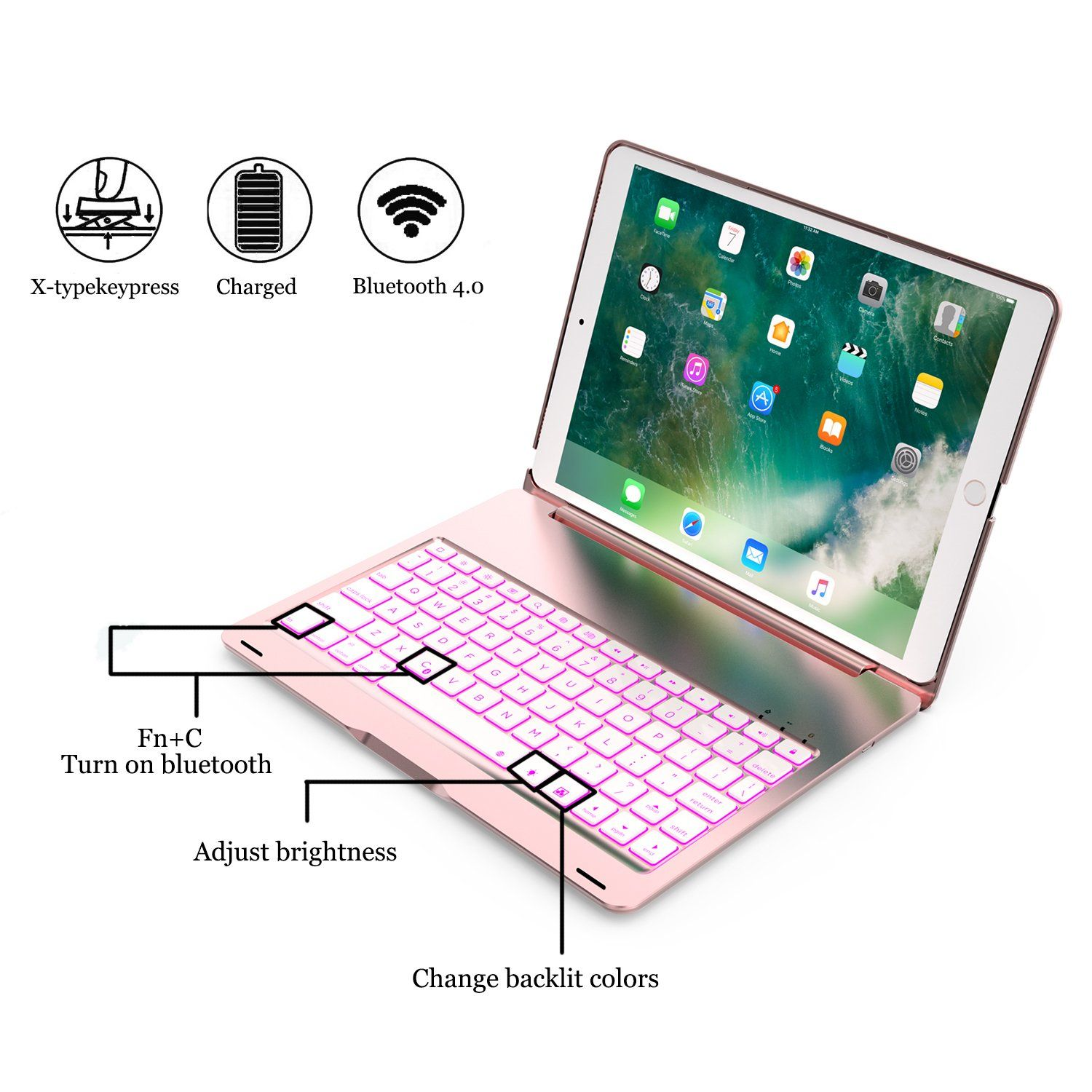 iPad Air 3rd Generation 360 Rotatable iPad 7th Generation Case with Keyboard iPad Air 10.5 2019 iPad Keyboard Case for iPad 10.2 2019 Backlit iPad Pro 10.5 2017 White Wireless