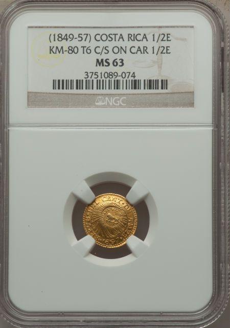 Costa Rica, Costa Rica: Republic gold Counterstamped 1/2 Escudo ND (1849-57)MS63 NGC,... Image #3