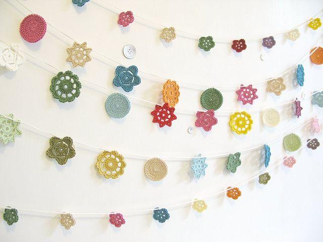 Looks like crocheted flowers ... pretty!