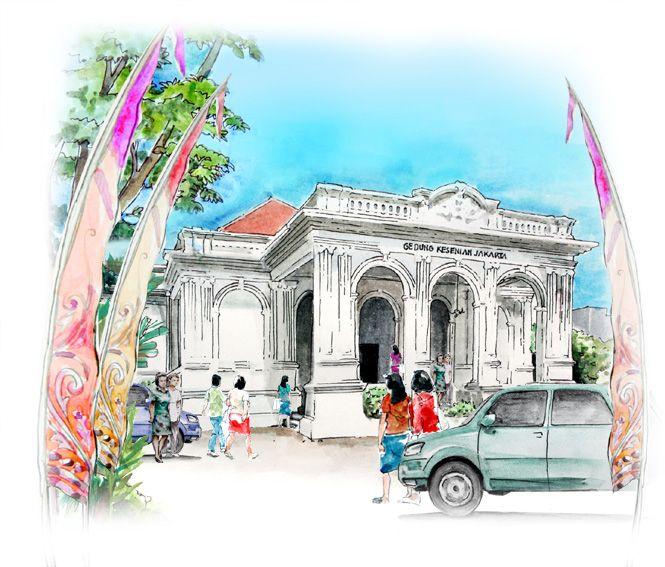 Sketsa Gedung Kesenian Jakarta Gedung Sketsa Lukisan