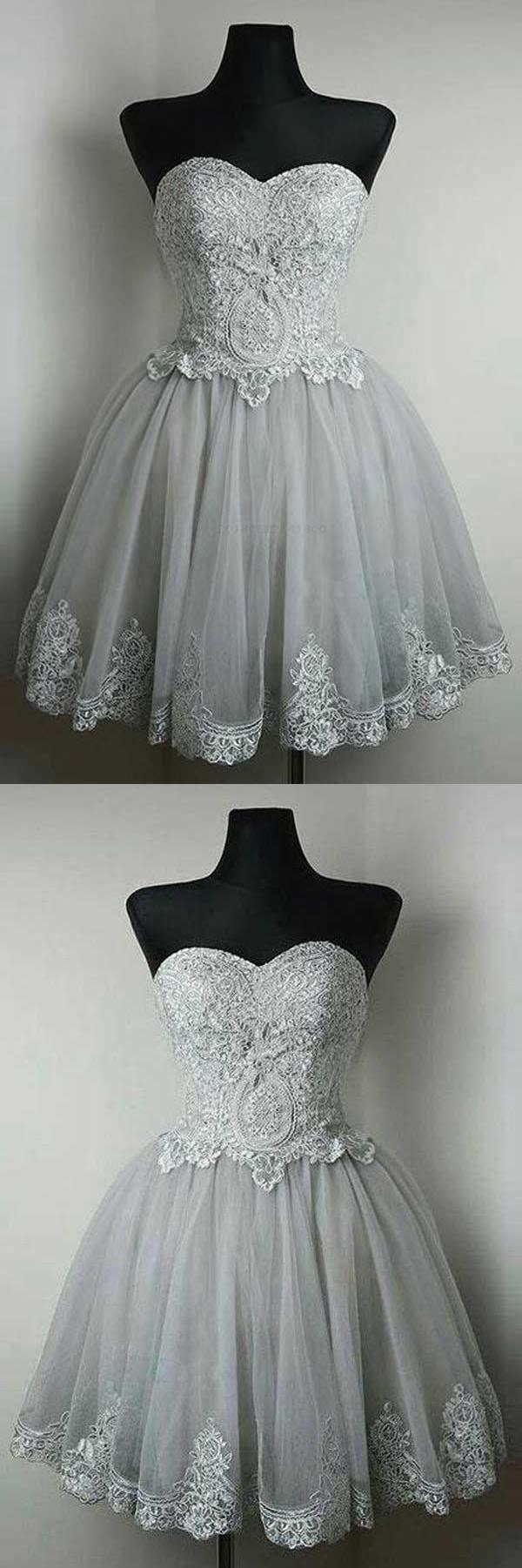 Short prom dresses lace prom dresses grey prom dresses simi