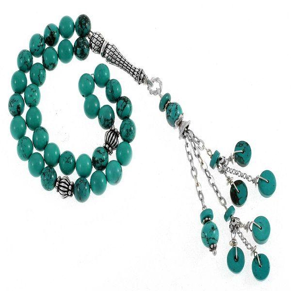 سبحة فيروز كورة معرق 33 حجر فيروزى اللون الاكسسوارات والسلسال من الفضة المطلية بالروديوم التوصيل الى اي موقع م Turquoise Bracelet Turquoise Necklace Turquoise