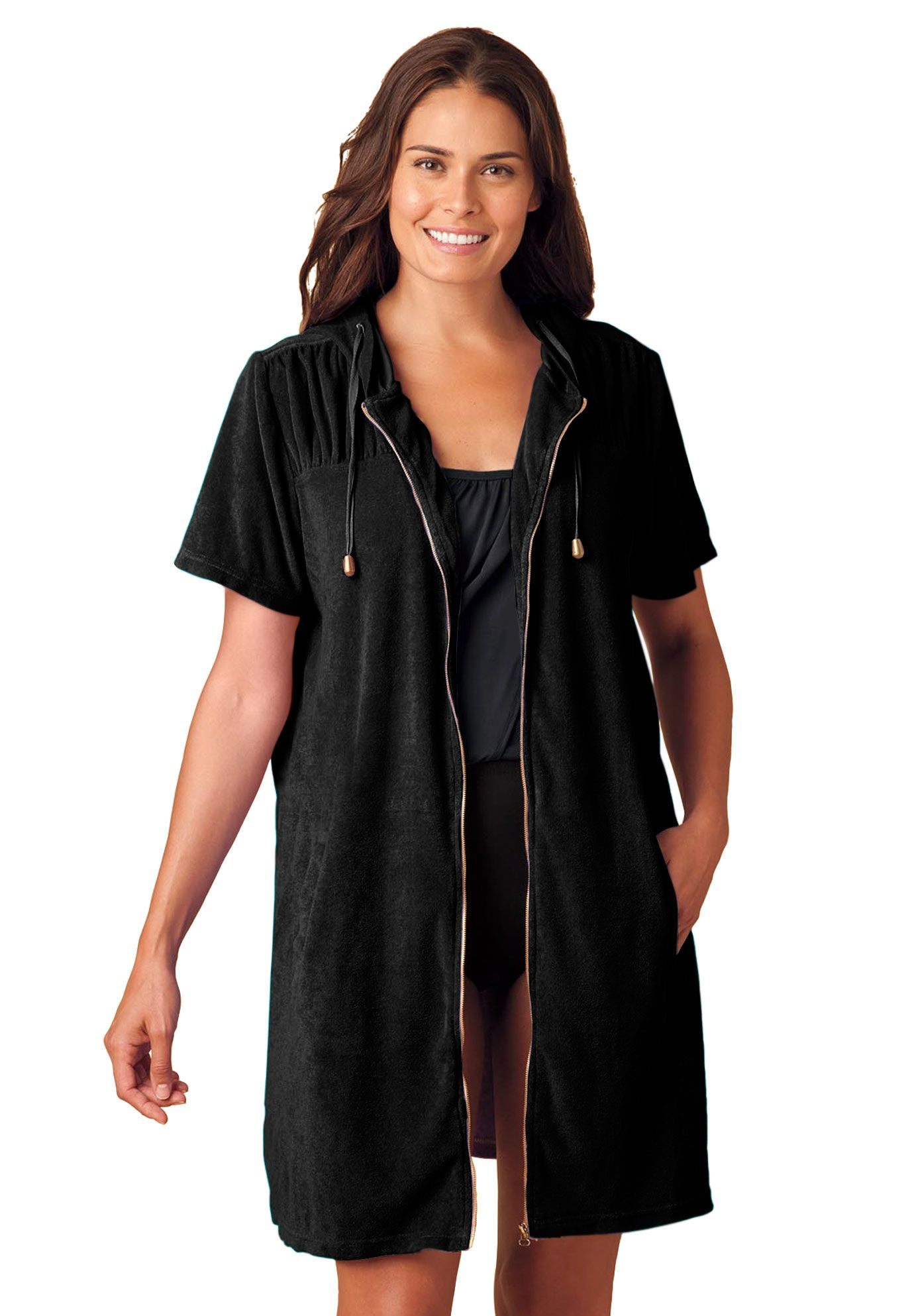 b5782574400 Cover-up for swimsuit, hooded in terrycloth | Plus Size Swimsuit Coverups |  fullbeauty.com