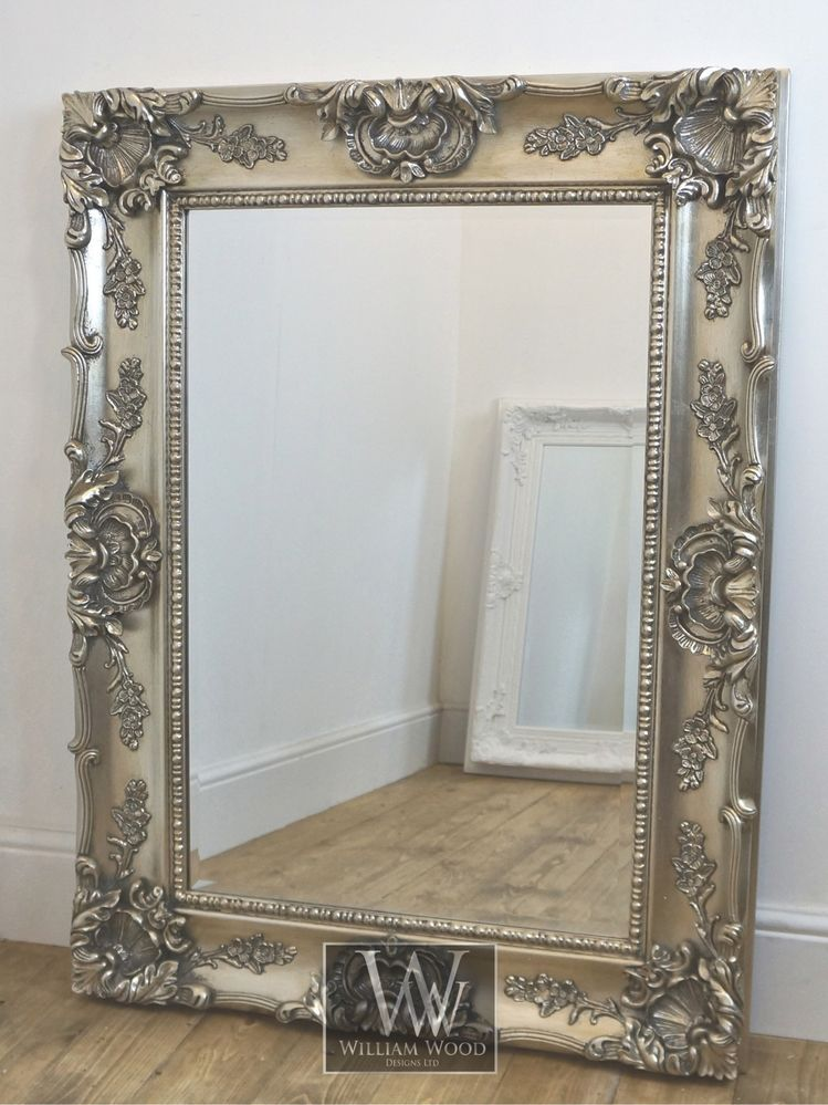 Grasmere Silver Ornate Rectangle Antique Wall Mirror 47 X 35 X
