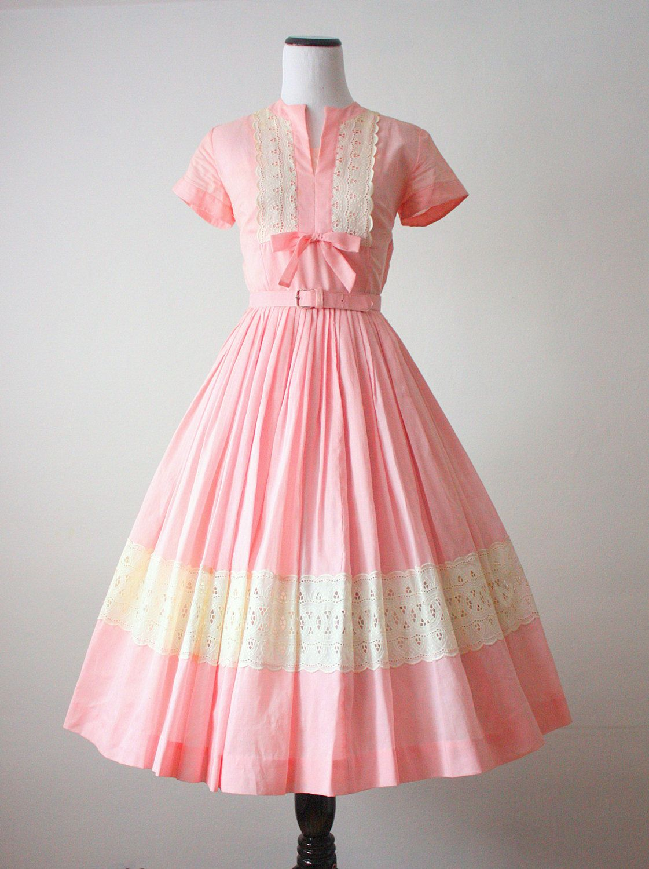Lace dress 50s  us dress  pink lace us dress  Pinterest  Pink lace dresses