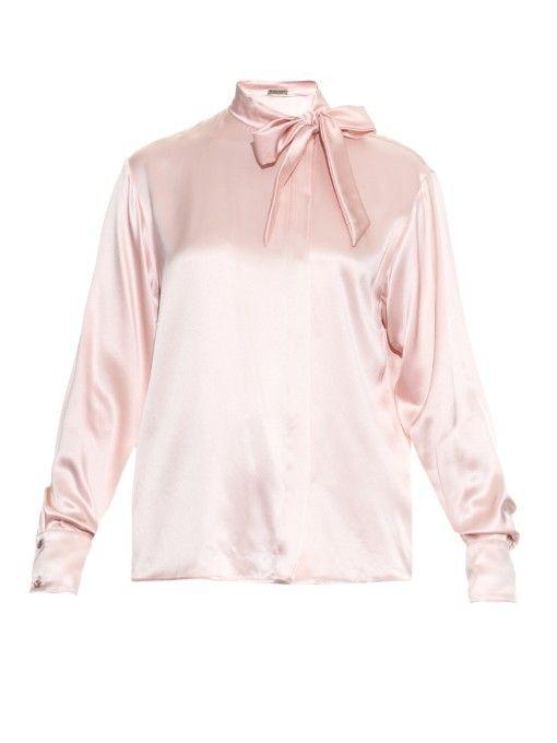 51a3a9d25f7bf Bottega Veneta Neck-tie silk-satin blouse