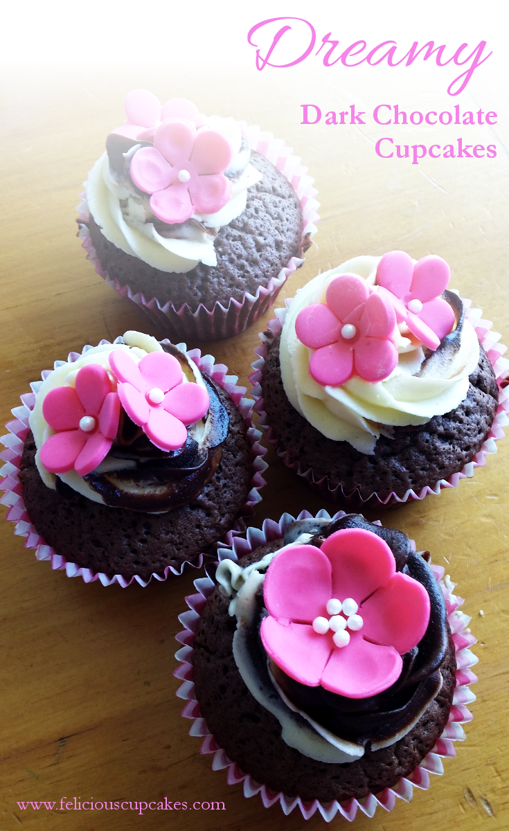 Dreamy Dark Chocolate Cupcakes With Buttercream Frosting And Dark