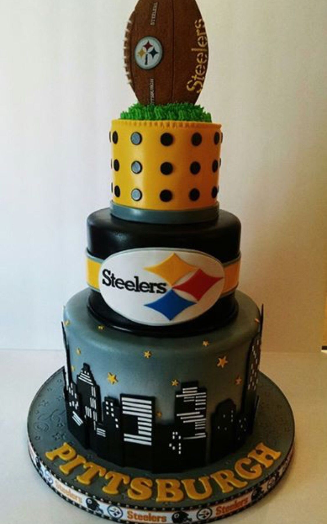 Incredible Steelers Cake Football Birthday Cake Steelers Superbowl Party Funny Birthday Cards Online Alyptdamsfinfo