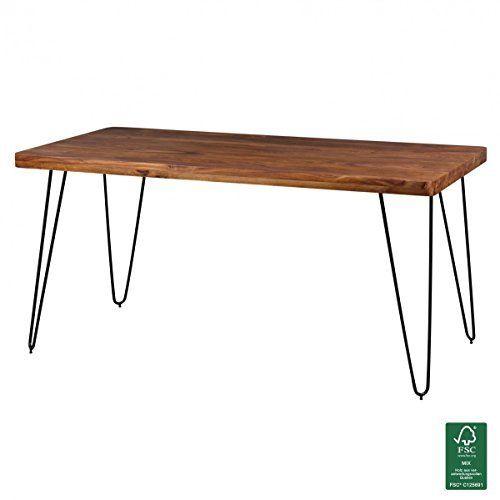 FineBuy Esstisch Massivholz Sheesham 160   240 Cm Ausziehbar Esszimmer Tisch  Design Küchentisch Landhaus