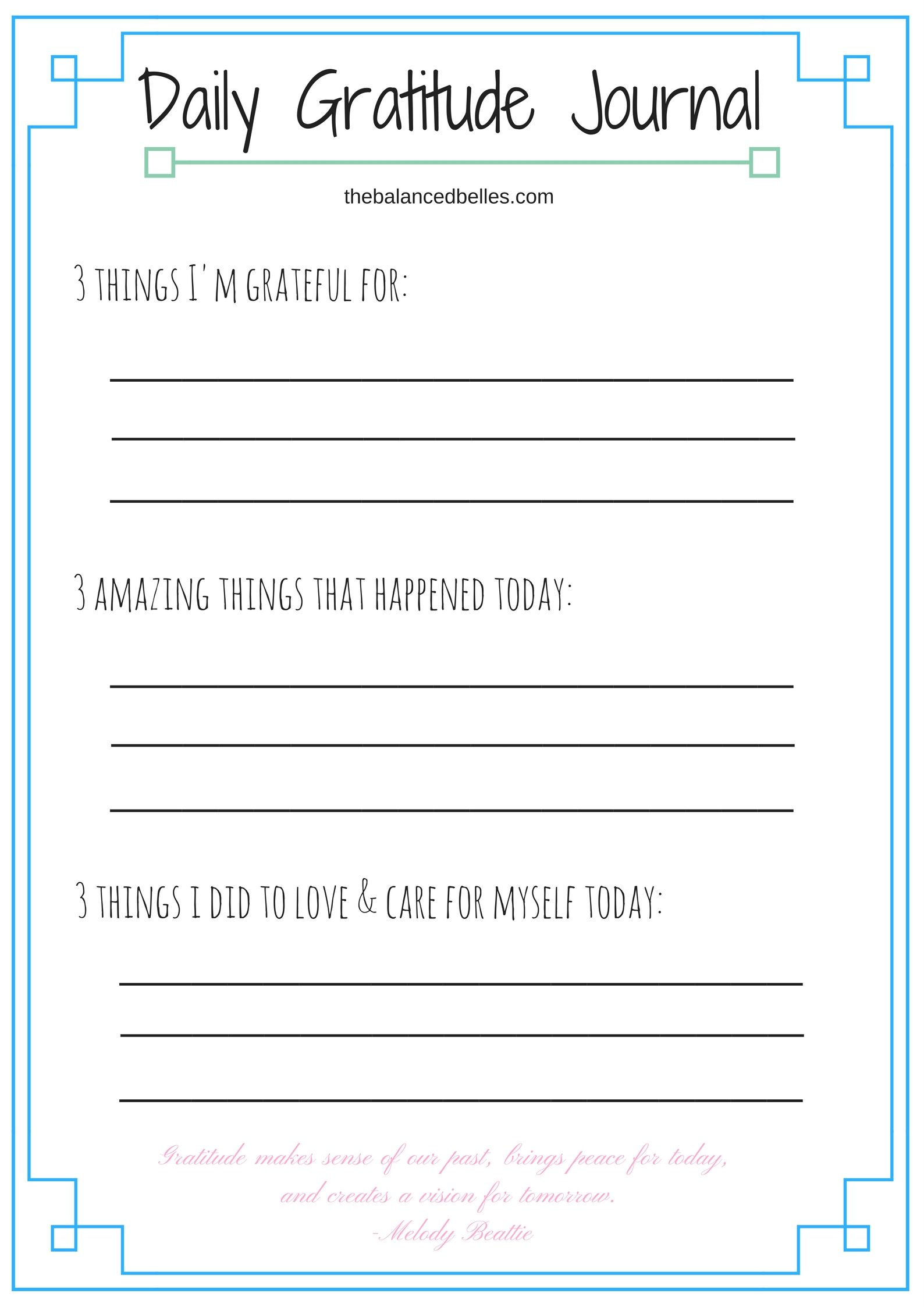 Daily Gratitude Journal For Mental Health