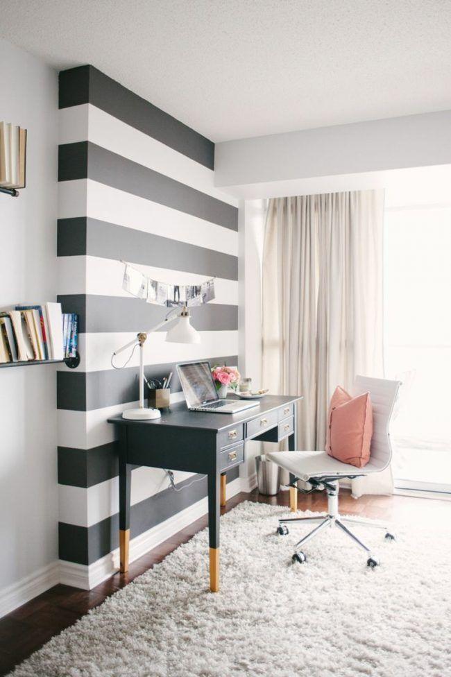 Ideen Für Wand Streifen Schwarz Weiss Quer Schreibtisch Akzentwand
