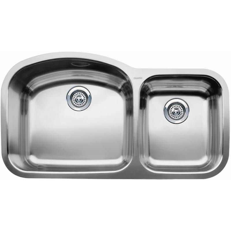 Blanco 440242 Wave 1 3 4 Basin Undermount Kitchen Sink With 10 And 7 Bowl Dept Satin Polished Fixture Kitchen Sink Stainless Steel Undermount Stainless Steel Sink Sink Double Bowl Kitchen Sink