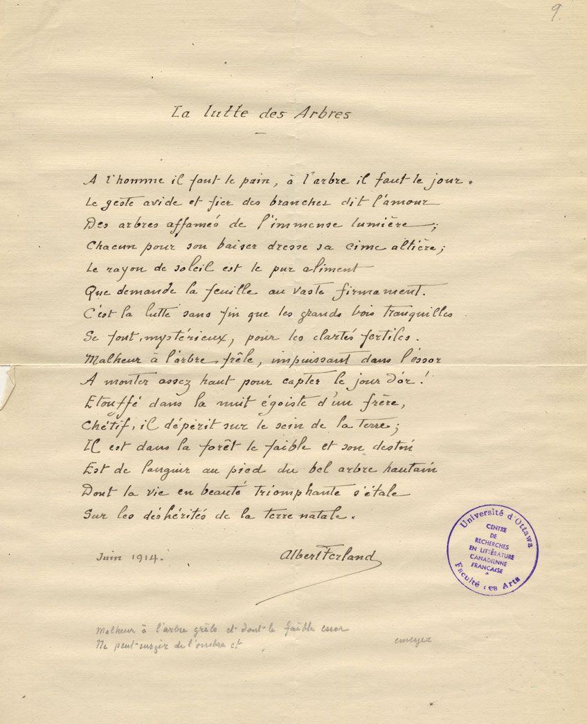 Poème Intitulé La Lutte Des Arbres Par Albert Ferland Juin