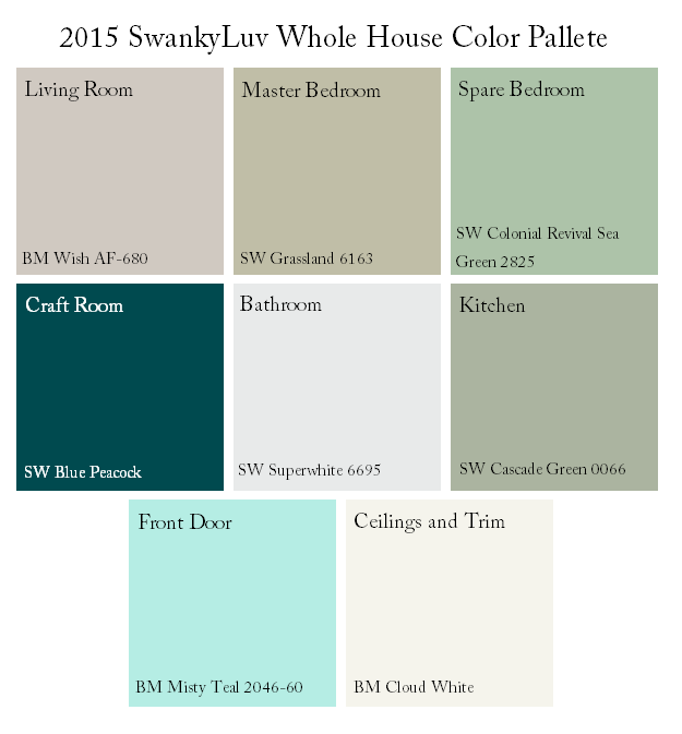 Swankyluv whole house color scheme http www - Whole house interior paint palette ...